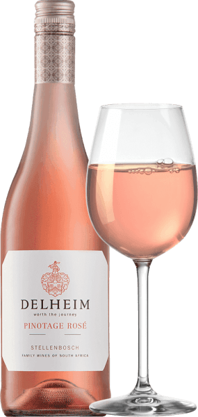 """The Pinotage Rosé by Delheim Wines is presented in a vibrant light pink. The uniquely dense, fragrant bouquet of this rosé wine from South Africa is reminiscent of a fruit basket filled with sweet red raspberries, cranberries, forest strawberries and juicy light sweet cherries. On the palate, this Pinotage Rosé presents itself fresh, fruity, juicy and round. The shitty fresh fruit acid stands in the way of a subtle, wonderfully melty sweetness, which perfectly balances this rosé from the cape. Vinification of Pinotage Rosé von Delheim This classic has been vinified since 1976. At that time, Michael """"Spatz"""" Sperling and his wife Vera created a real classic when they created the Pinotage Rosé in the first year. Regular awards and multiple awards as Best Rosé of the Year (Weinwirtschaft magazine) have made your Pinotage Rosé a legend.The Pinotage grapes for this wine grow on expressive clay and sandy soils in the municipality of Muldersvlei Bowl in the legendary Stellenbosch cultivation area. The Delheim Rosé is vinified for the most part from the red wine grape variety Pinotage, which is particularly typical of South Africa, to which a small proportion of fragrant Muscat grapes have been added. The grapes are picked by hand and selected again before mashing. The berries are then mashed in, the must is only briefly left on the peels and the delicately pink must is then fermented. Food recommendation for the Delheim Pinotage Rosé Enjoy this rosé solo as an aperitif or with ceviche, yellow pepper foam soup, chorizo carbonara and turkey gyro. This charming rosé is made from 90% pinotage and 10% muscat."""