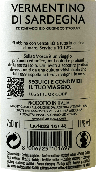 The Vermentino di Sardegna DOC from Sella & Mosca is reflected in the glass in a bright straw yellow with green reflections. This white wine from Sardinia unfolds its intense and typical bouquet, which reminds of white flowers and tropical fruits and is accompanied by fine acacia. On the palate this wine has a characteristic, intense taste. This Vermentino is dry, lively and fruity with a salty touch and a distinctive mineral character. In the finish this white wine leaves a pleasant and bitterish after-aroma that typical for this grape variety. Vinification for the Vermentino di Sardegna DOC of Sella & Mosca The Vermentino is a Mediterranean grape variety, probably of Spanish origin, which has been well acclimatized in Sardinia. The vines for La Cala Vermentino grow in the north-east of Sardinia, where they are cultivated from the coast to the gentle slopes in the hinterland. Here you can find mainly slate and granite soils. The Mediterranean climate is characterized by warm summers and mild winters. By gently pressing the grapes, careful treatment of the must and fermentation at controlled temperature, a very fine, pleasant, fresh and light wine is produced, which is ideal as a summer wine. Food recommendation for the Vermentino di Sardegna DOC of Sella & Mosca Enjoy this dry white wine as an aperitif or with starters or with dishes with fish and poultry.