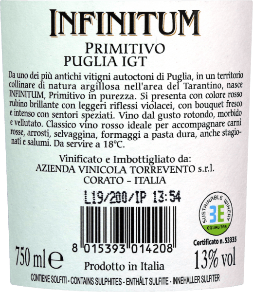 The Infinitum Primitivo Puglia IGT fromTorreventoshines with a rich ruby red in the glass with purple reflections. Notes of dark fruits and a pleasant spice are clearly noticeable in the nose. The palate of Primitivo from Puglia convinces with a round and velvety texture. The red wine is expressive and strong, without missing a balance. Very soft and integrated tannins round off the enduring finale. Infinitum means infinity. Infinite, it describes the variety of aromas quite aptly. A wine from southern Italy with a lot of drinking pleasure. Vinification of the Infinitum Primitivo Puglia of Torrevento The grapes for the Infinitum Primitivo Puglia IGT Torreventocome from the clayey soils around the cities of Manduria and Sava. The Primitivo will be read at the end of September. After a mashing life and fermentation in stainless steel, the wine matures for another 6 months in a stainless steel tank before it comes onto the bottle. Food recommendation for the Infinitum by Torrevento Enjoy strong meat dishes with the classic Primitivo from Puglia. However, the Infinitum also goes well with salami or more mature hard cheeses.