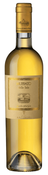 The Muffato della Sala Umbria IGT by Castello della Sala shines intensely golden yellow in the glass. On the nose, the muffato delights with delicate and elegant aromas, floral notes but above all ripe fruits, apricot and peach, citrus fruits, complemented by salty and mineral nuances. On the palate, the complex play of aromas continues, sweetness and freshness complement each other harmoniously and give this noble sweet wine its fine texture and pleasant full-bodied character. The finish is long with a delicately spicy, fresh and harmonious aftertaste. Vinification of the Muffato della Sala of Castello della Sala The unique Italian dessert wine Muffato della Sala is vinified from grapes that are harvested at the end of October, early November, after the Botrytis cinerea has developed with the morning autumn mists, the so-called noble rot, which reduces the water content of the grapes and concentrates aromas and sugar content. This gives the resulting Muffato della Sala a harmonious and distinctive taste. The first vintage was vinified in 1987 and was then composed of Sauvignon 50%, Grechetto 30% and Drupeggio 20&´%. In the following years the composition was varied, until today's cuvée of Sauvignon Blanc 60% and 40% Traminer, Riesling, Sémillon and Grechetto. The grapes are harvested manually, picked several times in the same vineyard, depending on the occurrence of noble rot on the individual grapes. In the wine cellar, a further manual selection takes place before pressing. The must then ferments for 18 days at a controlled temperature of approx. 17°C. The still sweet wines thus obtained are then transferred to French oak barriques from Allier and Tronçais and aged for 6 months, followed by the formation of the cuvée from the individual wines and further ageing and harmonization of the muffato for a few months in stainless steel tanks before it is finally bottled.The Muffato della Sala is an exceptional and unique terroir wine, produced only in very limited quant