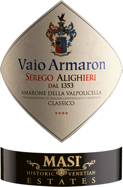 The Vaio Armaron Amarone delle Valpolicella Classico from the pen of Serego Alighieri from Veneto shows a dense ruby red colour in the glass. Held at a slight slant, the Burgundy goblet reveals a charming garnet red tone at the edges. The bouquet of this red wine from Veneto enchants with nuances of prunes, morello cherry, dried fruit and raisins. Let's continue to explore the aromas, and, encouraged by the influence of oak, we find the biggest hazelnut, walnut and cinnamon. This red wine from Serego Alighieri is the right drop for all wine drinkers who like as little residual sugar in their wine as possible. However, it is never sparse or brittle, as is appropriate for a wine of this reputation. On the palate, the texture of this powerful red wine is wonderfully dense. Due to the balanced fruit acidity, the Vaio Armaron Amarone delle Valpolicella Classico flatters with a soft mouthfeel, without missing juicy liveliness. Finally, the finale of this red wine from the Veneto wine growing region inspires with remarkable reverberation. Vinification of the Serego Alighieri Vaio Armaron Amarone delle Valpolicella Classico Basis for the powerful Vaio Armaron Amarone delle Valpolicella Classico from Veneto are grapes from the vine varieties Corvina, Molinara and Rondinella. After the manual harvest the grapes reach the winery as quickly as possible. Here they are selected and carefully ground. Fermentation then takes place in large wood at controlled temperatures. The fermentation is followed by a maturation of 40 months in Slavonian oak barrels. Recommended food for the Vaio Armaron Amarone delle Valpolicella Classico by Serego Alighieri This Italian red wine is best enjoyed at a temperature of 15 - 18°C. It goes perfectly with lamb stew with chickpeas and dried figs, boeuf bourguignon or vegetable couscous with beef burgers. Awards for the Vaio Armaron Amarone delle Valpolicella Classico from Serego Alighieri In addition to an iconic wine reputation, this red wine from Se