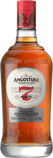 This 7-year-old rum is presented in a dark shiny amber color in the glass. Angostura 7yo by Angostura Rum seduces with a delicately smoky scent and warm spicy notes of chocolate and maple syrup. Fine spices and roasted notes complete its powerful, intense, aromatic and full-bodied taste. It is both a cool cocktail or solo treat.